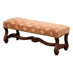 19th Century French Louis XIII Carved Walnut Mutton Bone Foot Stool