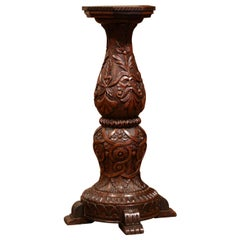 19th Century French Louis XIII Carved Walnut Pedestal Column from Normandy