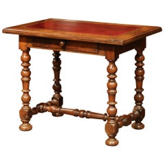 19th Century, French, Louis XIII Carved Walnut Table Desk with Red Leather Top