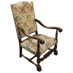 19th Century French Louis XIII Needlepoint Armchair