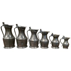19th Century French Louis XIII Pewter Pitchers in Graduated Sizes, Set of Six