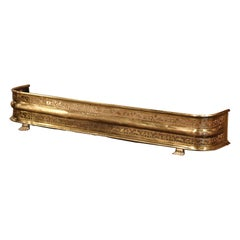 19th Century French Louis XIII Pierced Brass Fireplace Fender