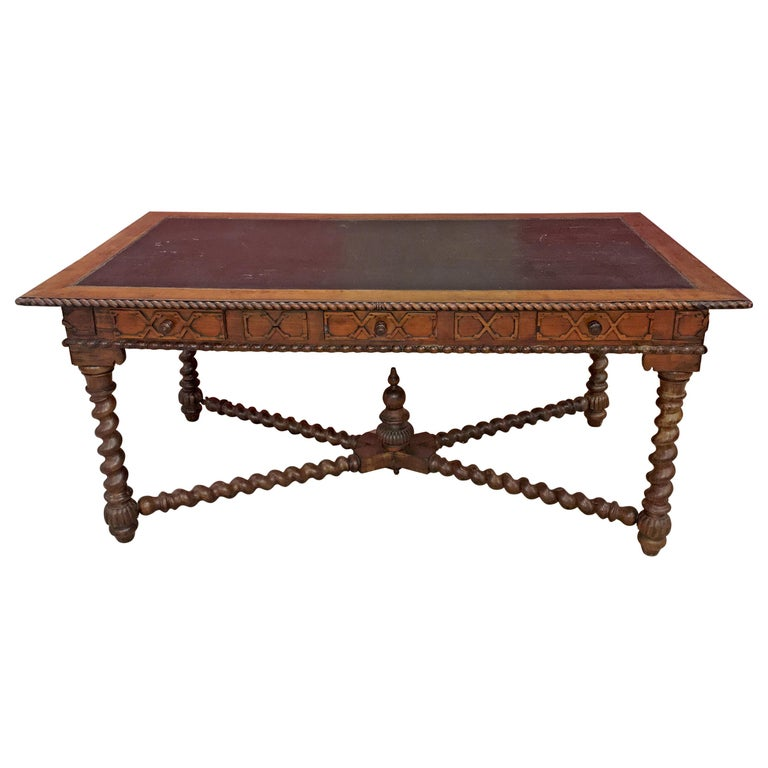 19th Century French Louis XIII Style Hand Carved Cherry Writing Desk, Moleskin For Sale
