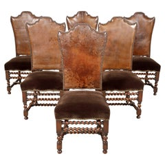 19th Century French Louis XIII Style Leather and Mohair Barley Twist Side Chairs