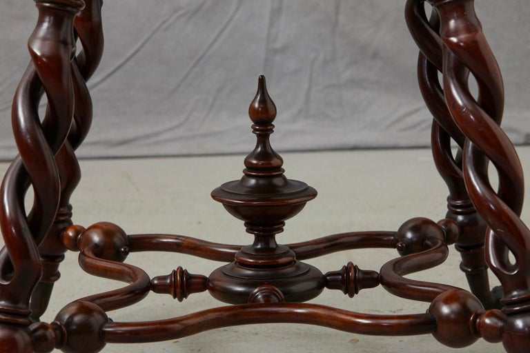 19th Century French Louis XIII Style Walnut Side Table with Barley Twist Legs For Sale 6