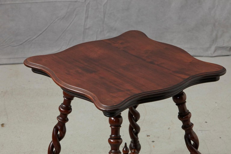 19th Century French Louis XIII Style Walnut Side Table with Barley Twist Legs For Sale 7