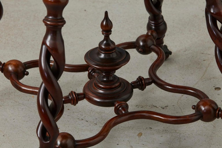 19th Century French Louis XIII Style Walnut Side Table with Barley Twist Legs In Good Condition For Sale In Weston, CT