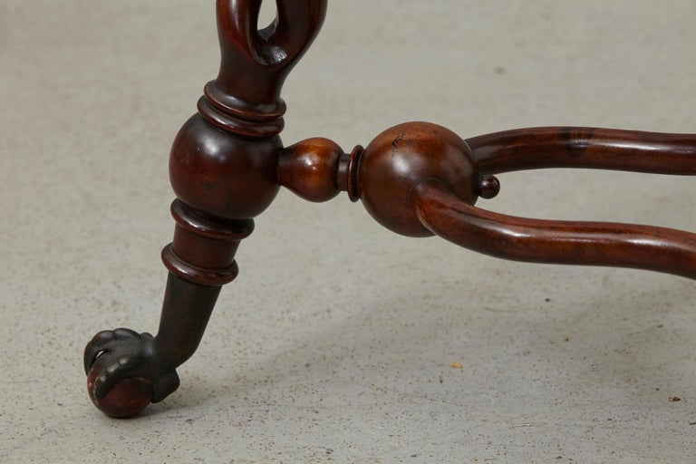 Brass 19th Century French Louis XIII Style Walnut Side Table with Barley Twist Legs For Sale