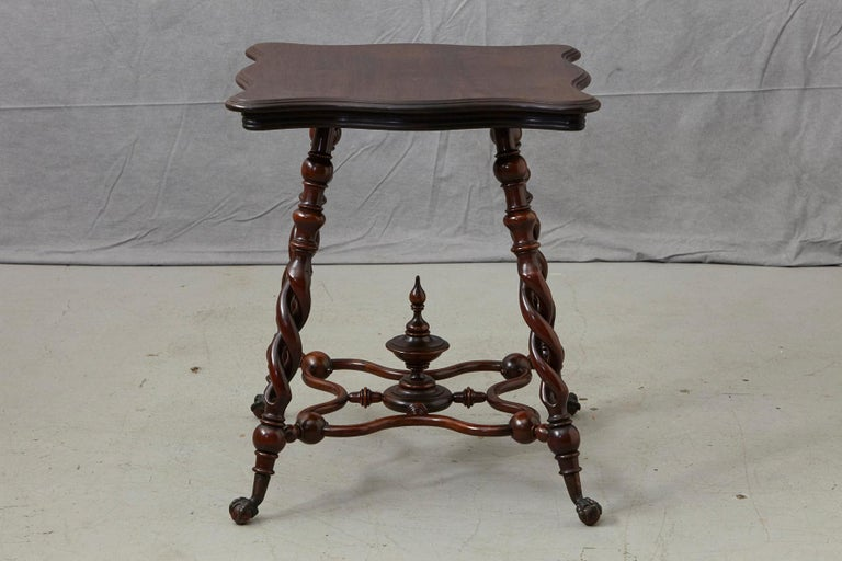 19th Century French Louis XIII Style Walnut Side Table with Barley Twist Legs For Sale 1