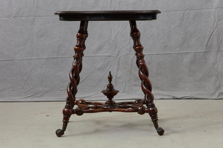 19th Century French Louis XIII Style Walnut Side Table with Barley Twist Legs For Sale 2