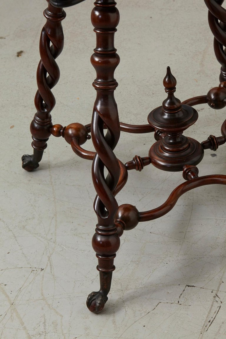 19th Century French Louis XIII Style Walnut Side Table with Barley Twist Legs For Sale 4