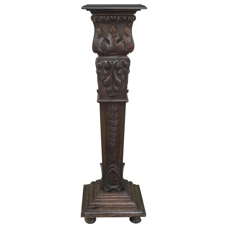 19th Century French Louis XIV Carved Fruitwood Pedestal For Sale