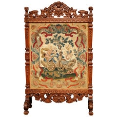 19th Century French Louis XIV Carved Walnut Needlepoint Fireplace Screen