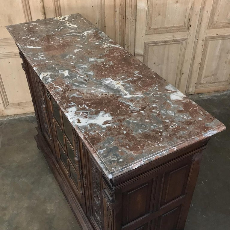 19th Century French Louis XIV Marble Top Display Buffet For Sale 6