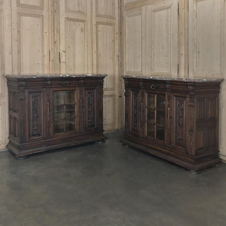 Hand-Crafted 19th Century French Louis XIV Marble Top Display Buffet For Sale