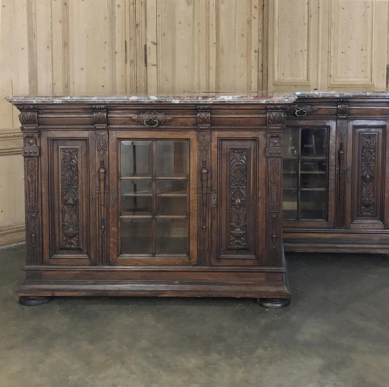 19th Century French Louis XIV Marble Top Display Buffet In Good Condition For Sale In Dallas, TX