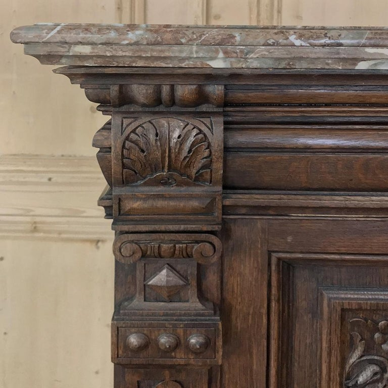 Late 19th Century 19th Century French Louis XIV Marble Top Display Buffet For Sale