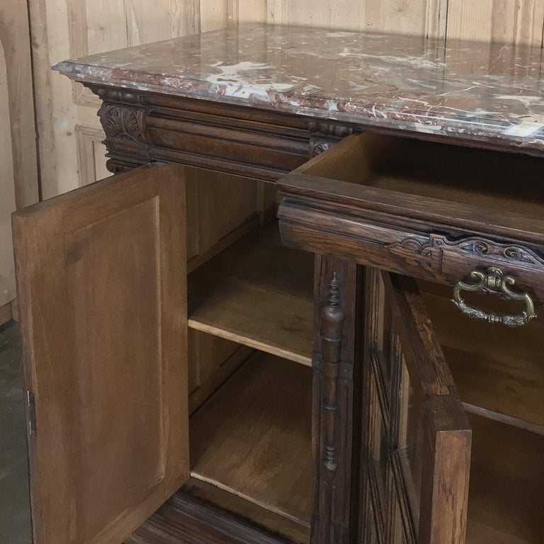 Brass 19th Century French Louis XIV Marble Top Display Buffet For Sale