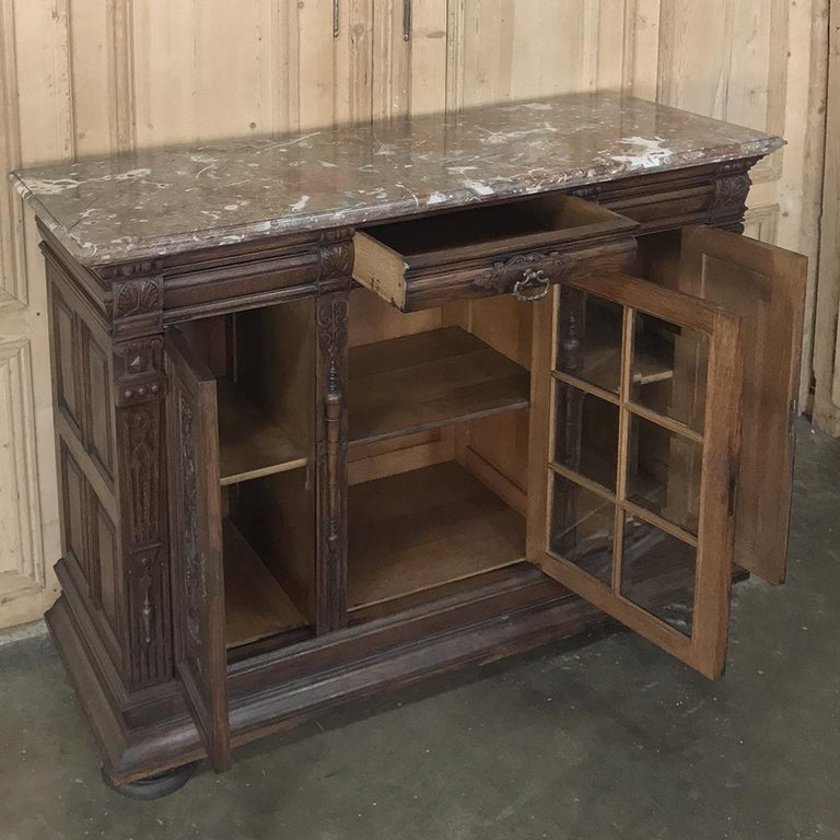 19th Century French Louis XIV Marble Top Display Buffet For Sale 1