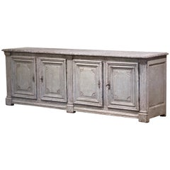 19th Century French Louis XIV Painted Four-Door Buffet with Faux Marble Top