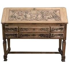 19th Century French Louis XIV Stripped Oak Secretary