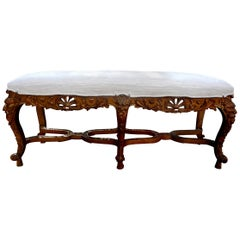 19th Century French Louis XIV Style Giltwood Bench