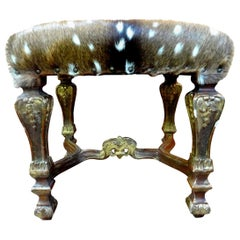 19th Century French Louis XIV Style Giltwood Bench with Deer Hide