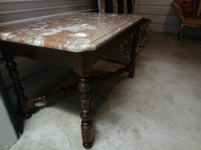 19th Century French Louis XIV Style Walnut Center Table For Sale 5