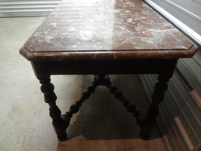19th Century French Louis XIV Style Walnut Center Table For Sale 6