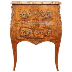 19th Century French Louis XV Bombe Chinoiserie Lacquer Commode