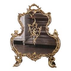 19th Century French Louis XV Bronze Doré Fireplace Screen with Cherub Motif