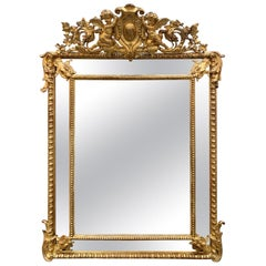 19th Century French Louis XV Carved and Giltwood Cushion Mirror