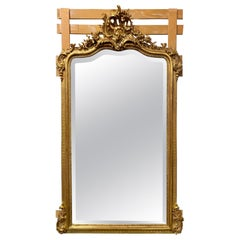 19th Century French Louis XV Carved and Giltwood Mirror