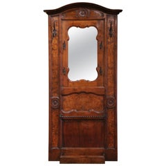 19th Century French Louis XV Carved Burl Walnut Hall Tree with Mirror and Hooks