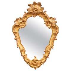 19th Century French Louis XV Carved Giltwood Wall Mirror