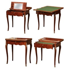19th Century French Louis XV Carved Rosewood and Felt Flip Top Game Table