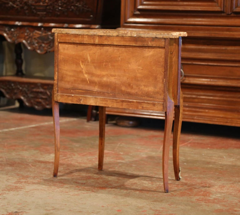 19th Century French Louis XV Carved Rosewood Inlay Commode with Beige Marble Top For Sale 5