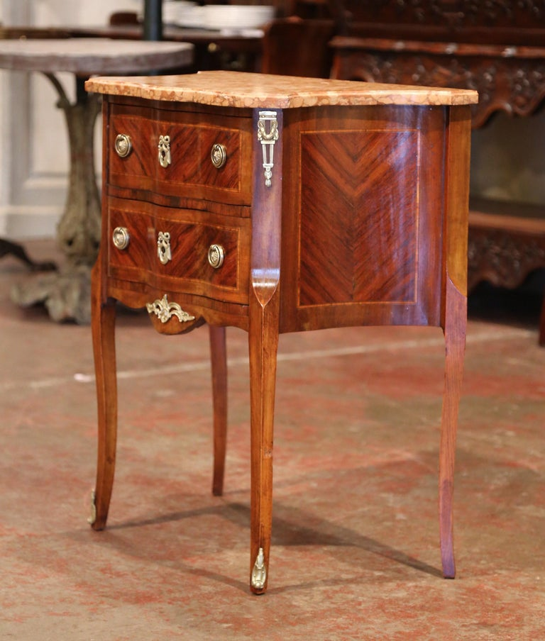 Patinated 19th Century French Louis XV Carved Rosewood Inlay Commode with Beige Marble Top For Sale