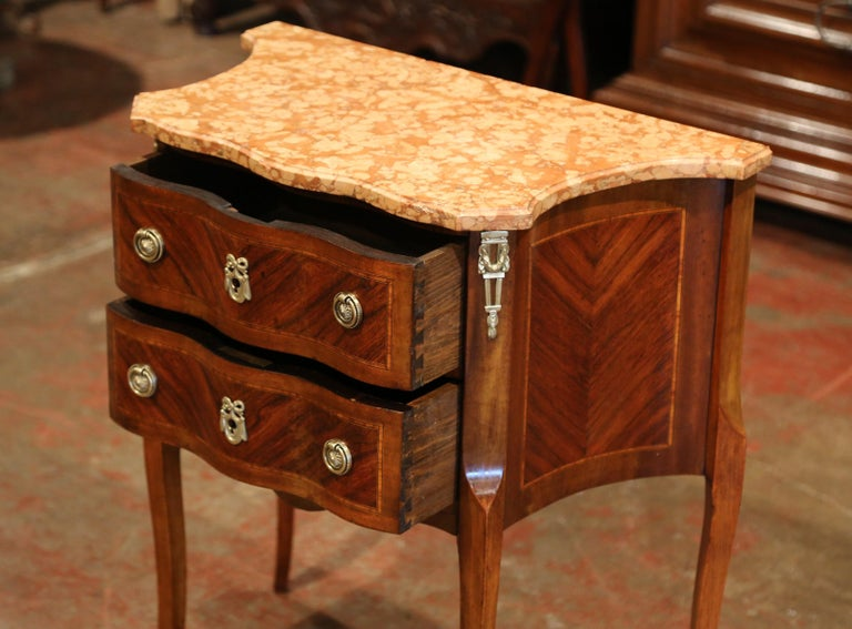 19th Century French Louis XV Carved Rosewood Inlay Commode with Beige Marble Top In Excellent Condition For Sale In Dallas, TX