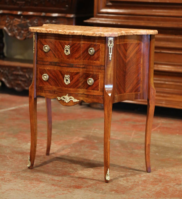 Bronze 19th Century French Louis XV Carved Rosewood Inlay Commode with Beige Marble Top For Sale