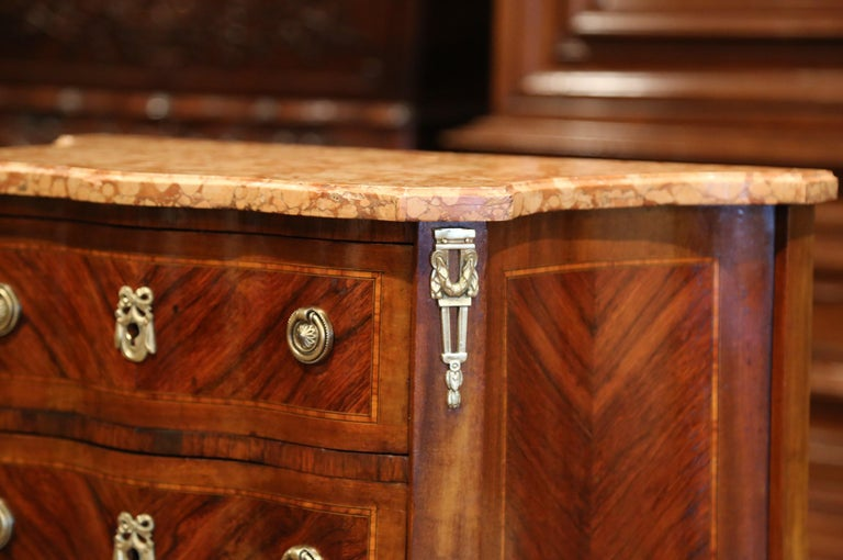 19th Century French Louis XV Carved Rosewood Inlay Commode with Beige Marble Top For Sale 1