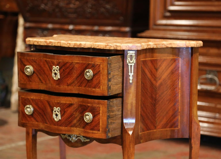 19th Century French Louis XV Carved Rosewood Inlay Commode with Beige Marble Top For Sale 2