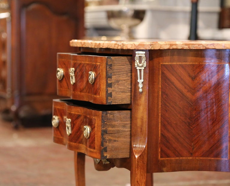 19th Century French Louis XV Carved Rosewood Inlay Commode with Beige Marble Top For Sale 3