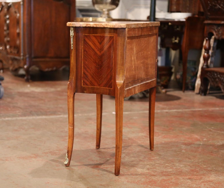 19th Century French Louis XV Carved Rosewood Inlay Commode with Beige Marble Top For Sale 4