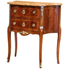 19th Century French Louis XV Carved Rosewood Inlay Commode with Beige Marble Top