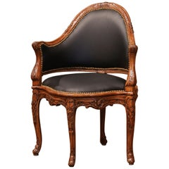19th Century French Louis XV Carved Walnut and Black Leather Desk Armchair