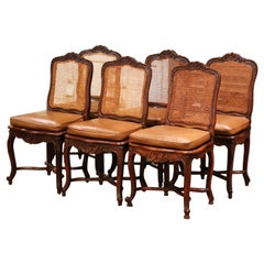 19th Century French Louis XV Carved Walnut and Cane Chairs, Set of Six