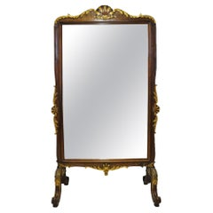 19th Century French Louis XV Carved Walnut and Gilt Free Standing Cheval Mirror