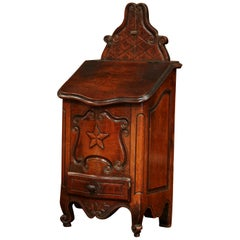 19th Century French Louis XV Carved Walnut Bombe Salt Box from Provence