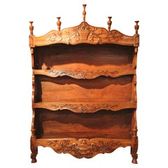19th Century French Louis XV Carved Walnut Bombe Wall Shelf from Provence